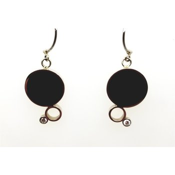14kt White Gold Black Jade and Diamond Earrings