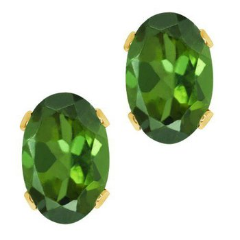 14 Karat Yellow Earrings With  Oval Dark Green Tourmalines