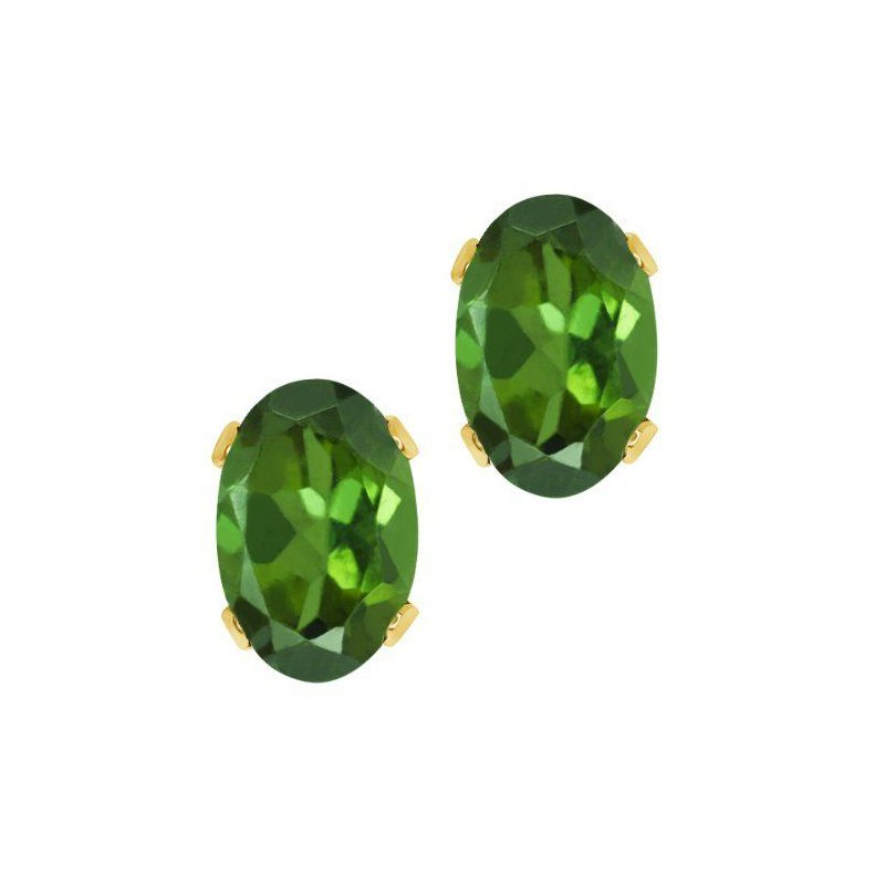 14 Karat Yellow Earrings With  Oval Dark Green Tourmalines