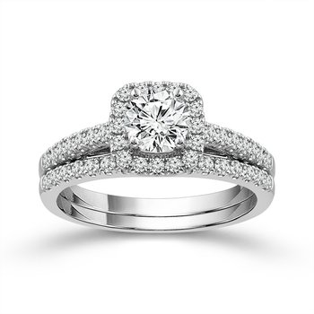 14 Karat Diamond Engagement Ring and Wedding Band Set