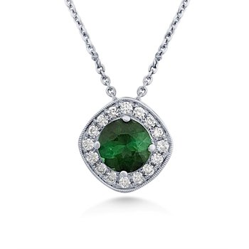 Scintillating  Tourmaline Pendant With Diamonds