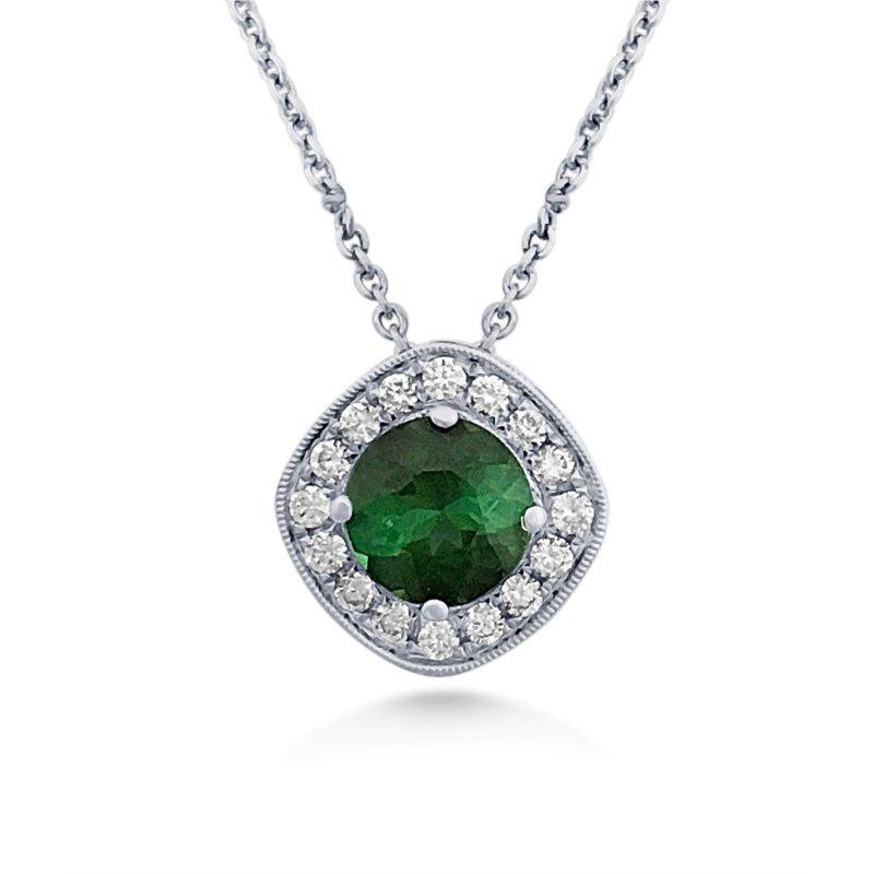 Scintillating  Tourmaline Pendant With Diamonds