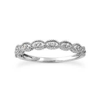 14 Karat White Gold Vintage Inspired Diamond Band