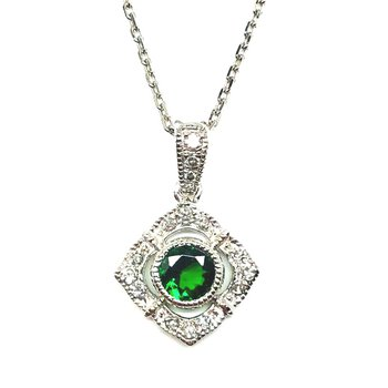 Classic Gold Pendant with Rare Tsavorite Garnet and Diamonds