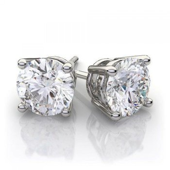 White 14 Karat Stud Earrings 3ctw