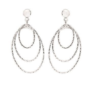 Sterling Silver Diamond Cut Graduated Oval Drops Earrings