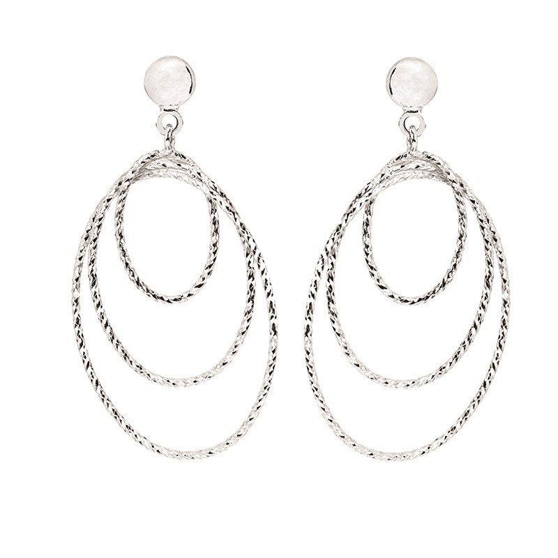 Sterling Silver Diamond Cut Graduated Oval Drops Earrings