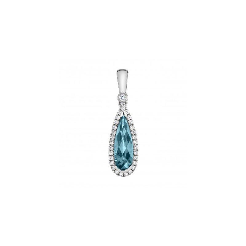 White 14 Karat Drop Pendant With London Blue Topaz and Diamonds