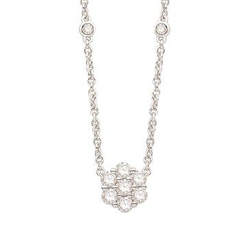 White Gold Flower Cluster Diamond Pendant on Diamonds Station Chain