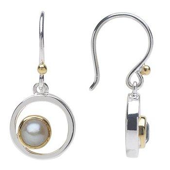 Pearl Bezel Set Drop Earrings
