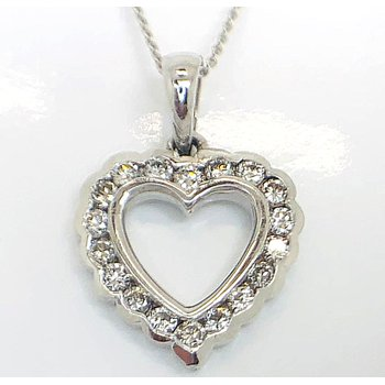 Romantic White Gold Heart with Diamonds Pendant