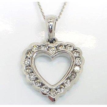 Romantic White Gold Heart with Diamonds Pendant