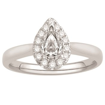 Stylish Pear Shaped Diamond set with a Halo of Round Diamonds