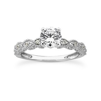 Twisting Shoulder Diamond Set Engagement Ring Mounting