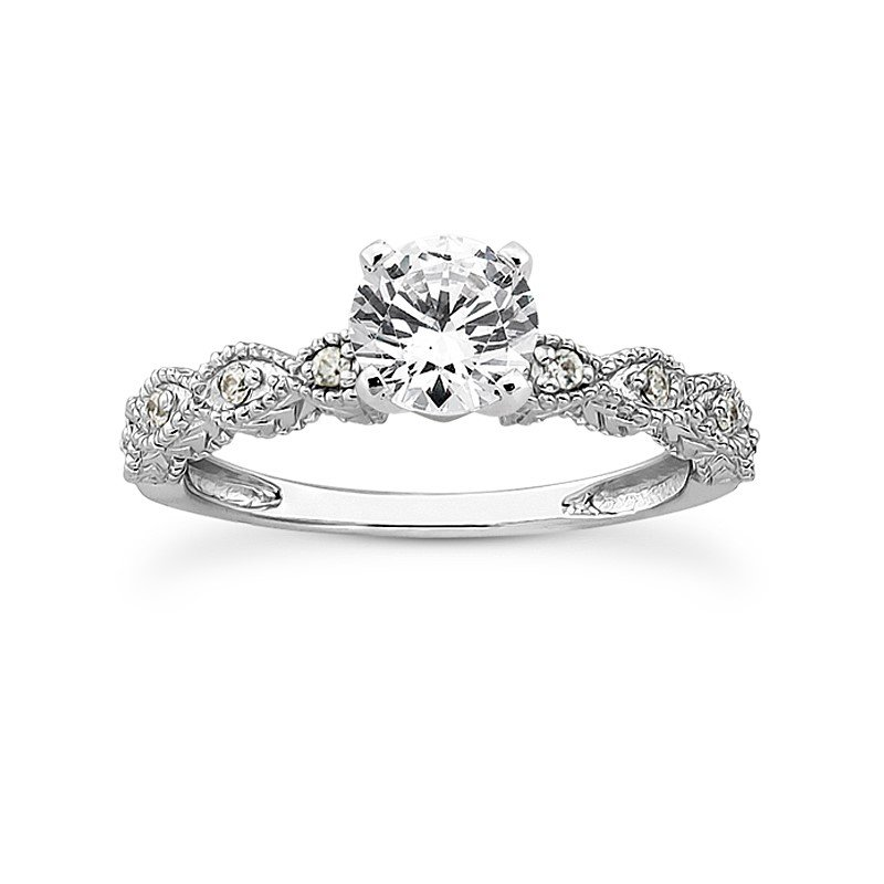 Twisting Shoulder Diamond Set Engagement Ring Mounting