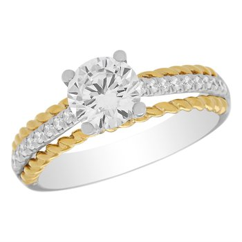 14kt White and Yellow Gold Ring with Diamonds in Shank