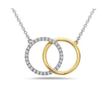 White And Yellow 14 Karat Linking Circles Pendant With 30=0.23Tw Round Diamonds