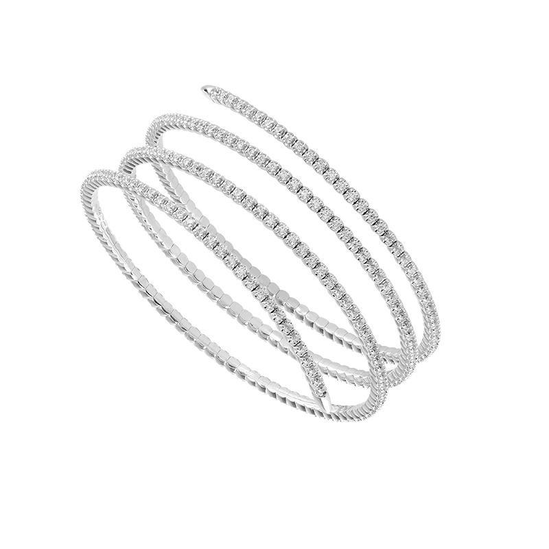 Stunning 3 1/4 ct 14 Karat White Gold Diamond Wrap Bracelet
