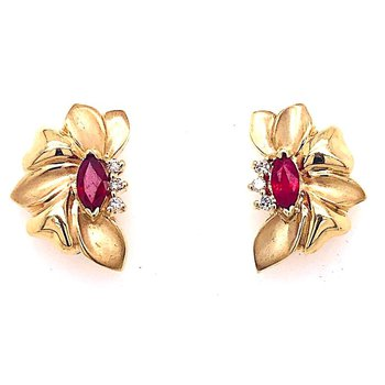 14 Kt 'Folded' Yellow Gold  Earrings With Marquise Rubies And Diamonds