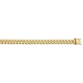 "Yellow Polished 10 Karat Semi Solid Miami Cuban Link Necklace Length 24"""