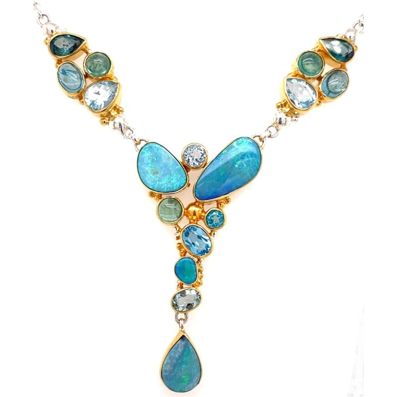 Inspired By the Sea, Iridescent Opals and Green Gemstones Cascade Freely Into This Free Form Necklace