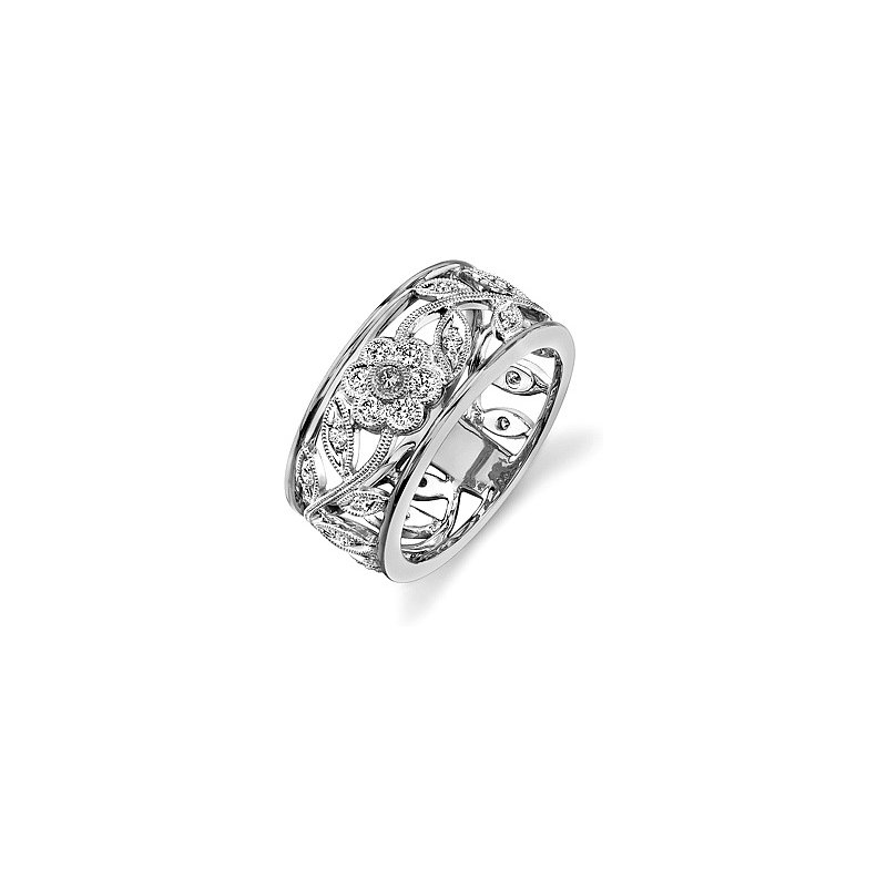 Elegant 18kt Diamond Floral Band