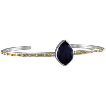 White and Yellow Sterling Silver Bangle Bracelet With Bezel Set Onyx