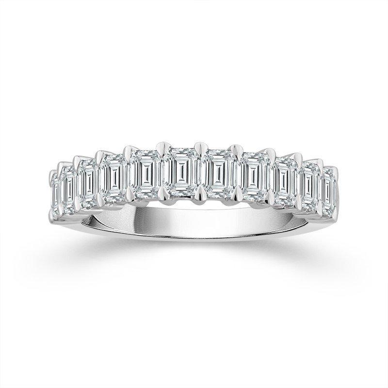 14 Karat White Gold Emerald Cut Diamond Band