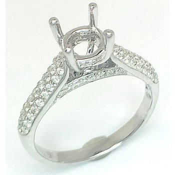 18kt Diamond Ring with Pave Cathedral Shoulders