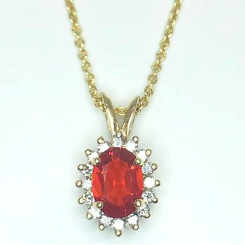 Hot Orange Fire Opal and Diamond Pendant