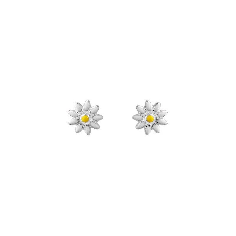 Sterling Silver Enamel Daisy Earrings