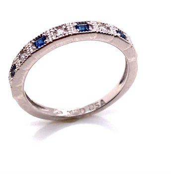 10 Karat White Gold Diamond and Sapphire Band