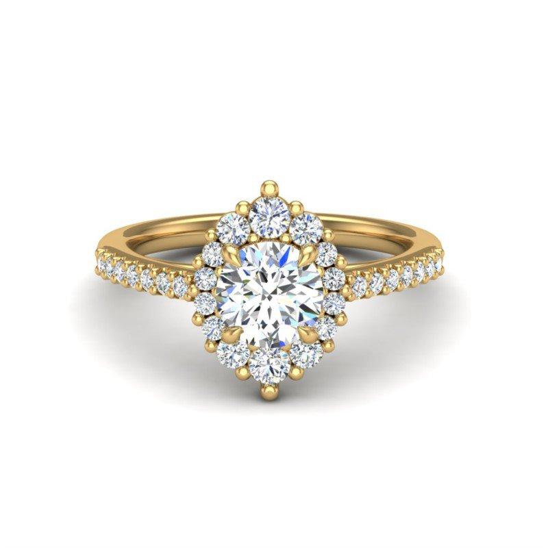 14 Karat Oval Halo With Round Diamond Center Ring With 24= Round Diamonds
