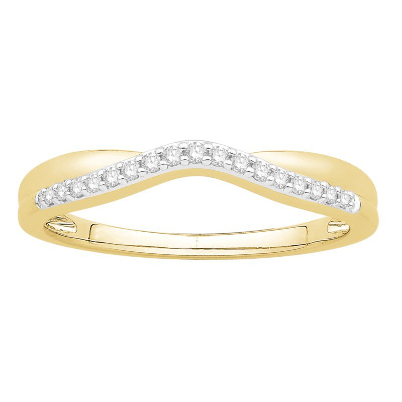 14 kt Yellow Gold Diamond Curved Band