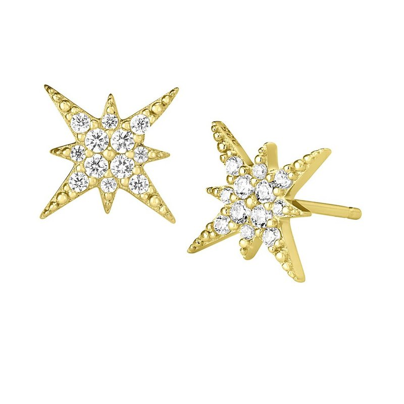 Yellow Sterling Silver Micropave Starburst Studs Earrings