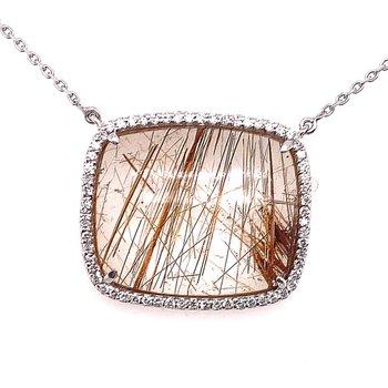 Stunning Rutilated Quartz Surrounded by Diamonds