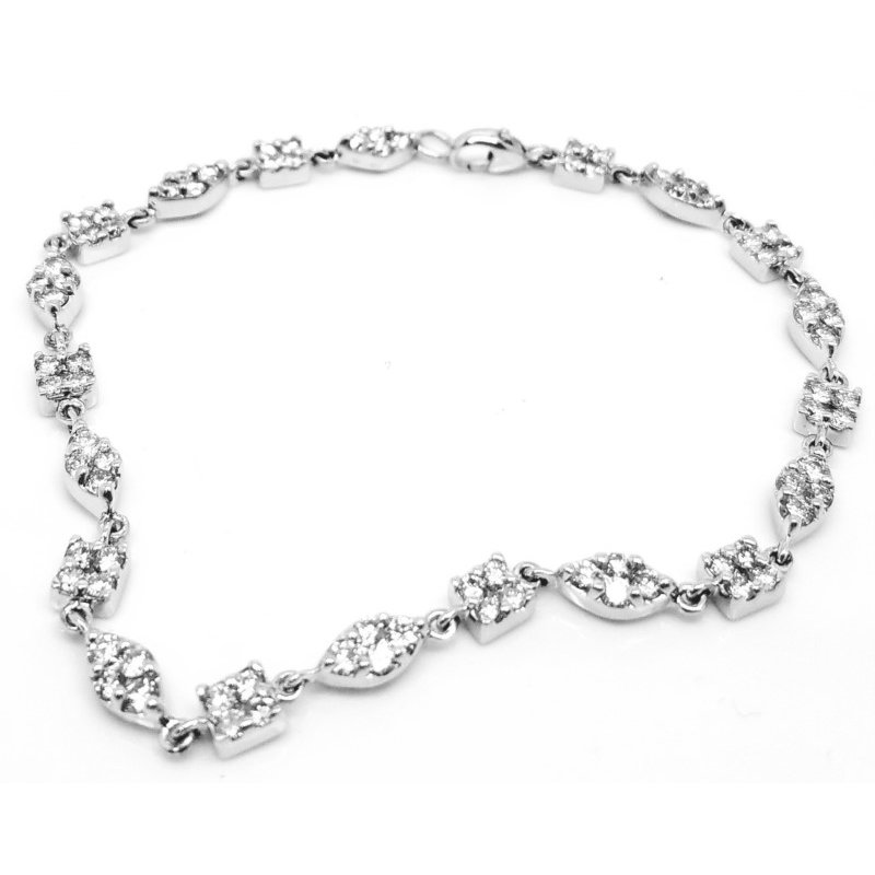 Alternating Clusters of  Geometric Shapes Diamond Bracelet