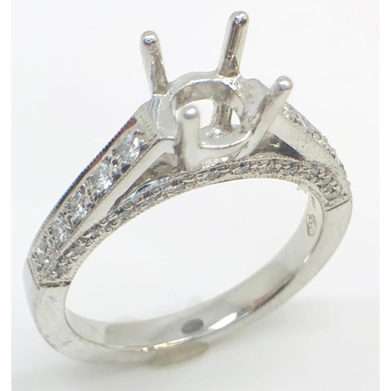 White Gold Mounting with diamonds in cathedral shoulders