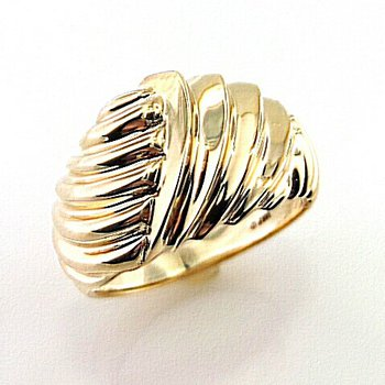 Heavy Gold Domed Ribbed Ring
