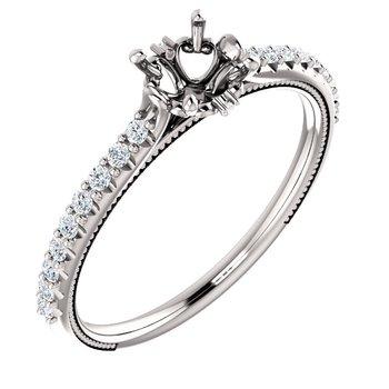 White 14 Karat Cathedral Ring Mounting With Diamonds