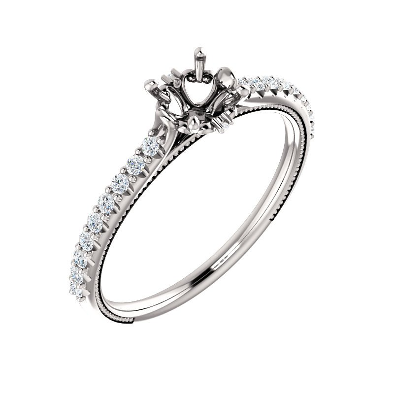 White 14 Karat Cathedral Ring Mounting With Diamonds