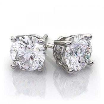 14 Karat Stud Earrings With 2=2.02Tw Round H I1 Diamonds
