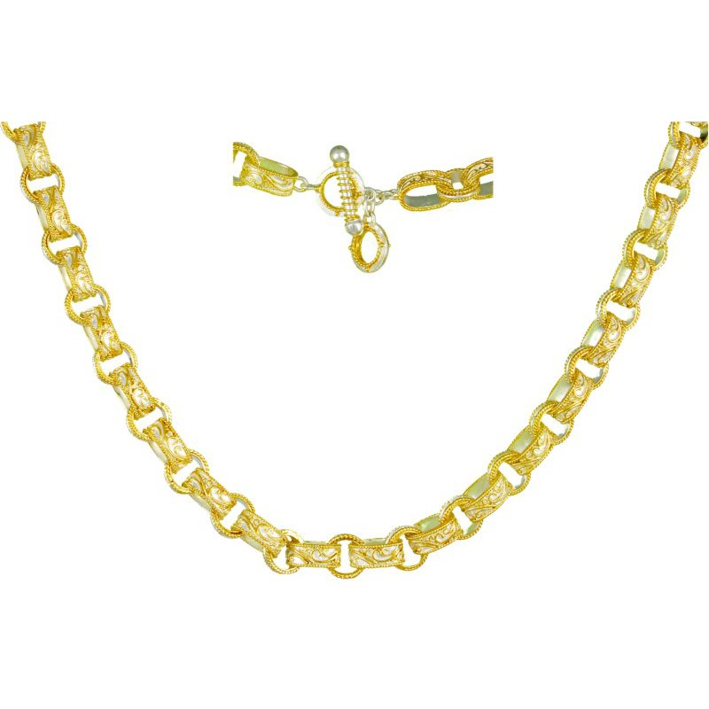 Sterling Silver and Yellow Filigree Timeless Scroll Necklace