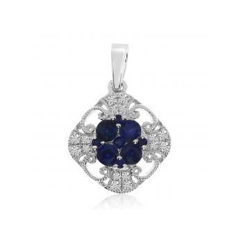 14 lt Gpld Sapphire and Diamond Filigree Pendant