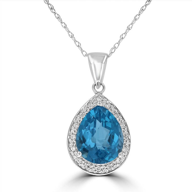 Classic Fashion Blue Topaz and Diamond Pendant in Gold