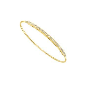14 Karat Yellow Flex Diamond Bangle Bracelet