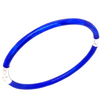 3 mm Cobalt Blue Sterling Silver Enamelled Bangle Bracelet
