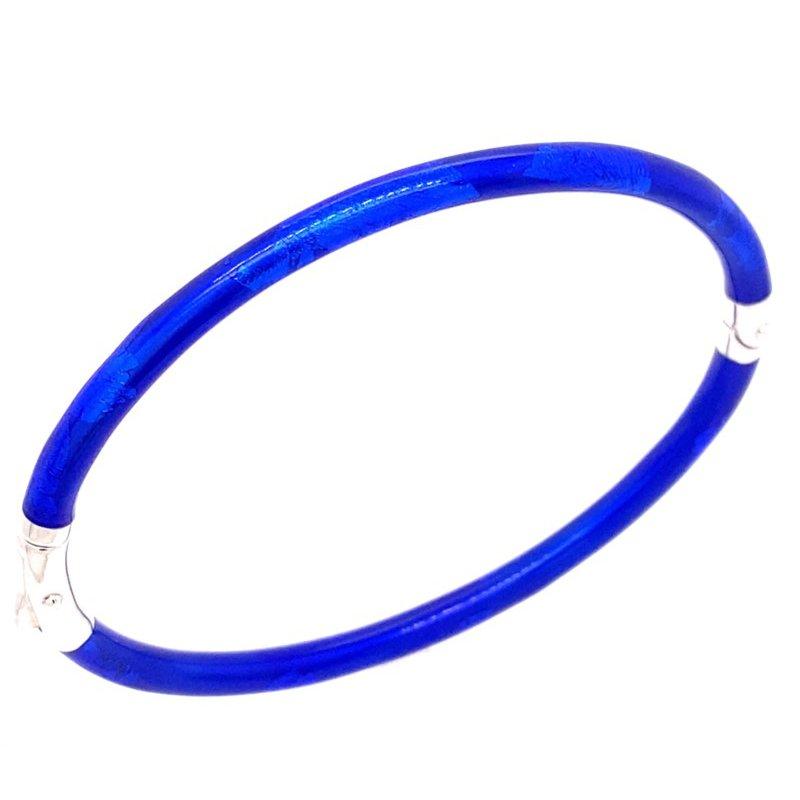 3 mm Cobalt Blue Sterling Silver Enamelled Bangle Bracelet