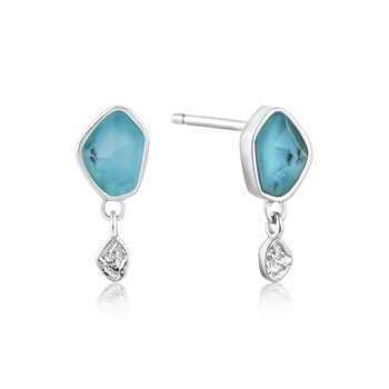 White Sterling Silver Polished Mineral Glow Turquoise Drop Earrings