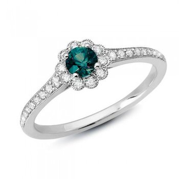 14 Karat White Gold Flower Inspired Ring With Alexandrite and Diamonds